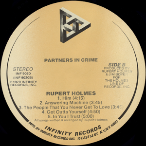 Rupert Holmes Partners In Crime Vinyl Album Covers Com