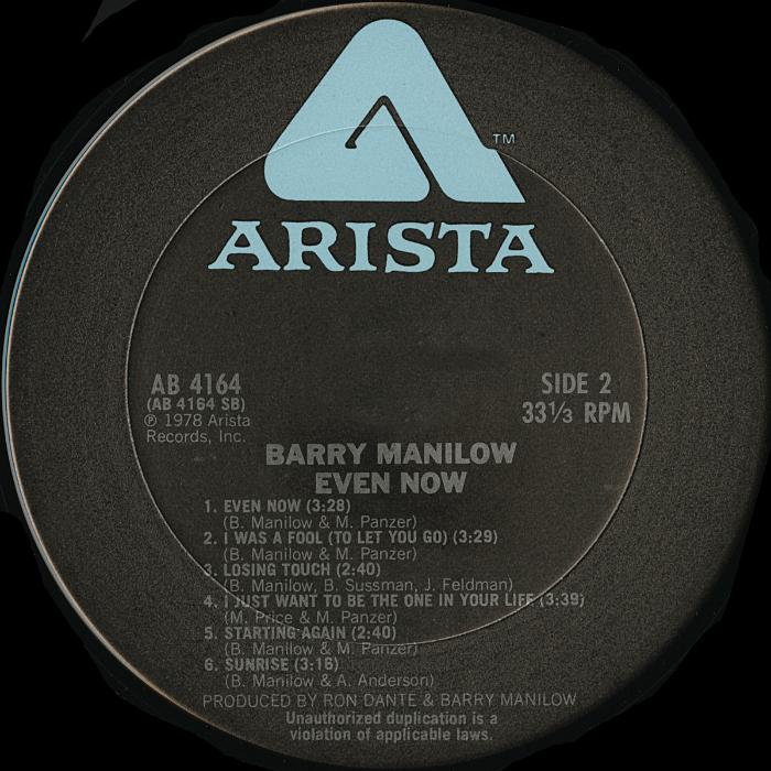 Barry Manilow Even Now Vinyl Album Covers Com