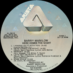 barrymanilowherecomesthenightlabel1