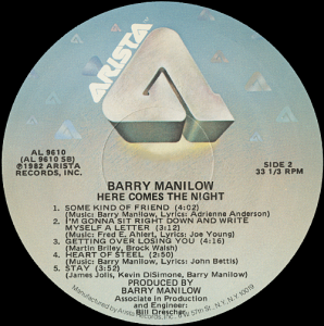 barrymanilowherecomesthenightlabel2