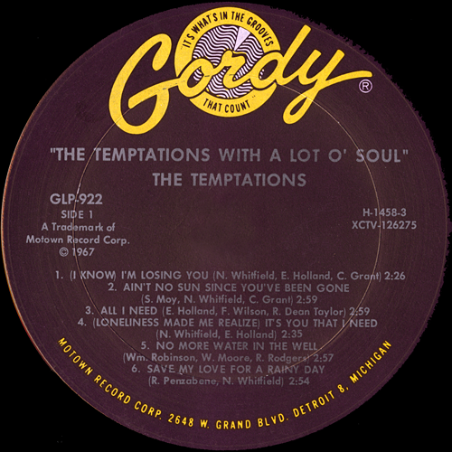 The Temptations With A Lot O Soul Vinyl Album Covers Com